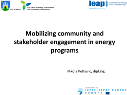 Mobilising community and stakeholder engagement in energy