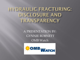 Fracking: Disclosure and Transparency