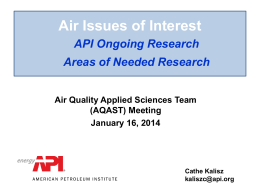 Air quality issues of concern to the American Petroleum Institute