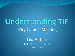 Learn More about TIF - City of Clintonville