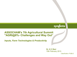 Inputs, Farm Technologies & Productivity