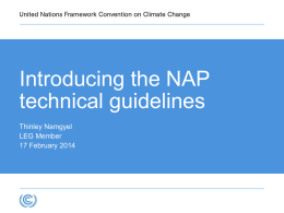 Introduction to the UNFCCC/LEG technical guidelines - UNDP-ALM