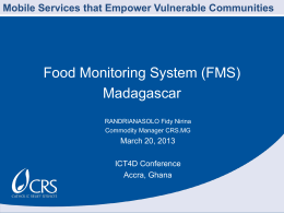 Food-monitoring system through DataWinners SMS system