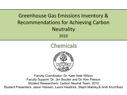 Greenhouse Gas Emissions Inventory & Recommendations for