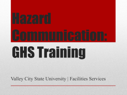 GHS/Hazard Communication - Valley City State University