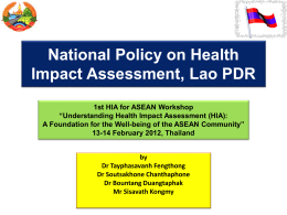 HIA in the Lao PDR National Policy