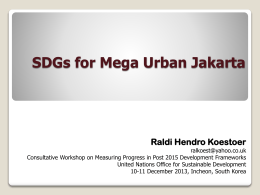 SDGs for Mega Urban Jakarta, Mr. Raldi Koestoer, Senior