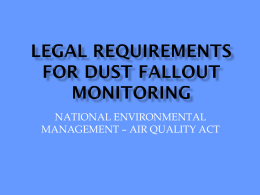 Fallout Monitoring Requirements