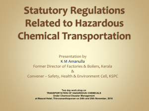 Statutory Regulations Related to Hazardous - Hrdp