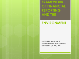 framework of financial reporting and the environment