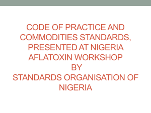 Nigerian Industrial Standards with specifications for