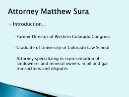 Presentation by Matt Sura