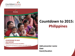 Philippines - Countdown to 2015