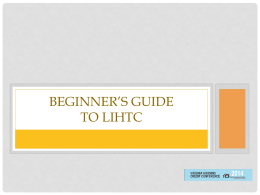 Beginner`s Guide to the LIHTC