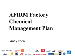AFIRM Factory Chemical Management Plan by Andy
