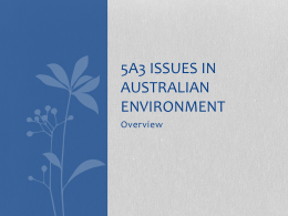 Introduction & Overview of Australian Environmental Issues