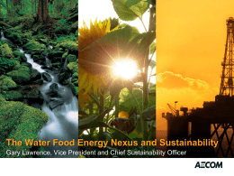 The Water Food Energy Nexus and Sustainability