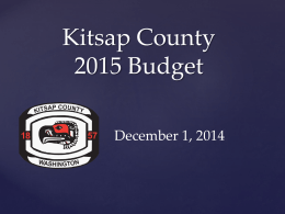 2015 Budget Presentation - Kitsap County Government