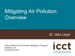 Mitigating Air Pollution: Overview - A. Lloyd