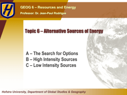 Topic 6 * Alternative Sources of Energy
