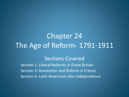 Chapter 24 The Age of Reform- 1791-1911
