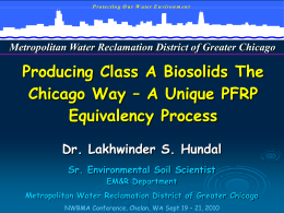 Producing Class A Biosolids The Chicago Way