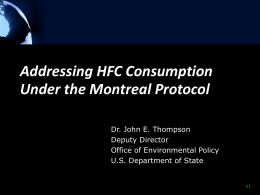 Addressing HFC consumption under the Montreal