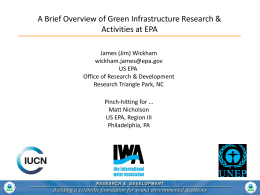 A Brief Overview of Green Infrastructure Research & Activities