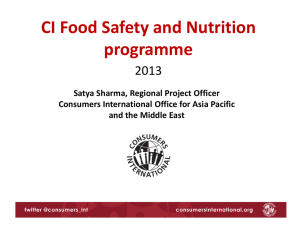 PPT- CI Food Program 2013 - Consumer Coordination Council