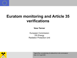 Euratom monitoring and Article 35 verifications by Vesa Tanner