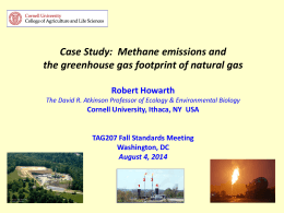 Case Study: Methane emissions and the greenhouse gas footprint of