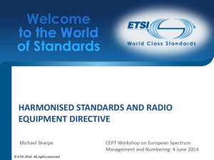 Harmonised standards and RE Directive