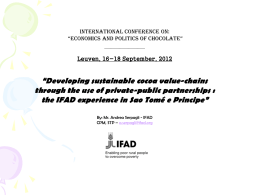 Developing sustainable cocoa value-chains through the