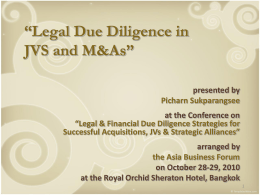 Legal Due Diligence of Thailand 2010