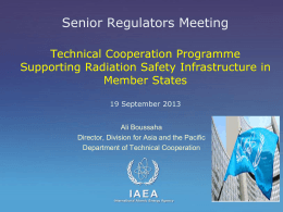 Radiation Safety in MS as enabling factor for Technical Cooperation
