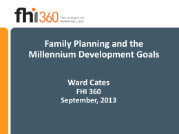 Family Planning and the Millennium Development Goals