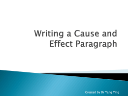 Writing a Cause and Effect Paragraph