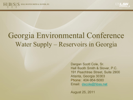 Georgia Environmental Conference Water Supply