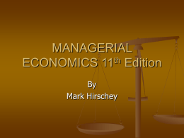MANAGERIAL ECONOMICS 11th Edition