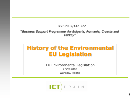 History of the Environmental EU Legislation