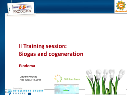 II Training session: Biogas and cogeneration Ekodoma