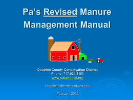 PA`s Revised Manure Management Manual Presentation