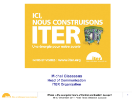 Michel Claessens. ITER project