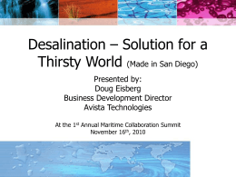 Desalination – Solution For a Thirsty World PowerPoint