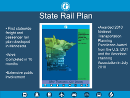 State Rail Plan, Minnesota DOT