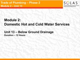 Trade of Plumbing – Phase 2 Module 2 – Unit 13