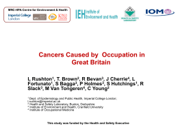The Number of Cancers Cause by Occupation in Great Britain