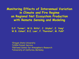 Monitoring Effects in Climate and Fire Regime on Net