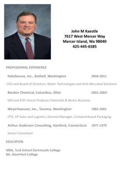 John M Kaestle 7617 West Mercer Way Mercer Island, Wa 98040