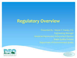 Regulatory Overview - the Oklahoma Department of Environmental